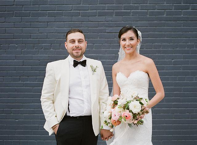 Bride and groom portraits in Williamsburg, Brooklyn