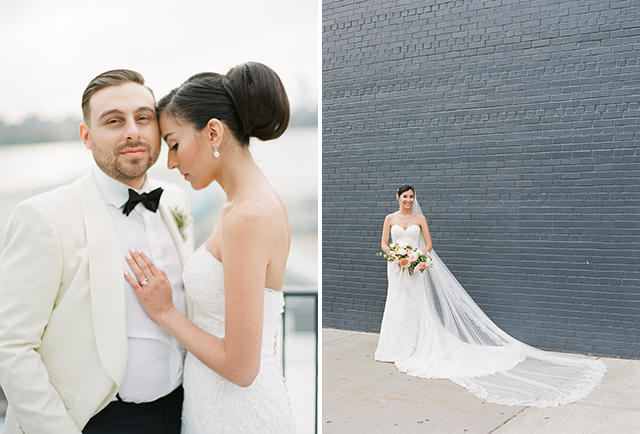 Long lace veil and Rosa Clara wedding gown - Sarah Der Photography