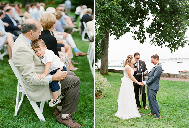 stamford yacht club wedding ceremony by the water - Sarah Der Photography