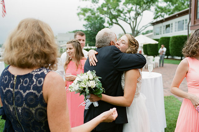 bride and dad hugging after the ceremony - Sarah Der Photography
