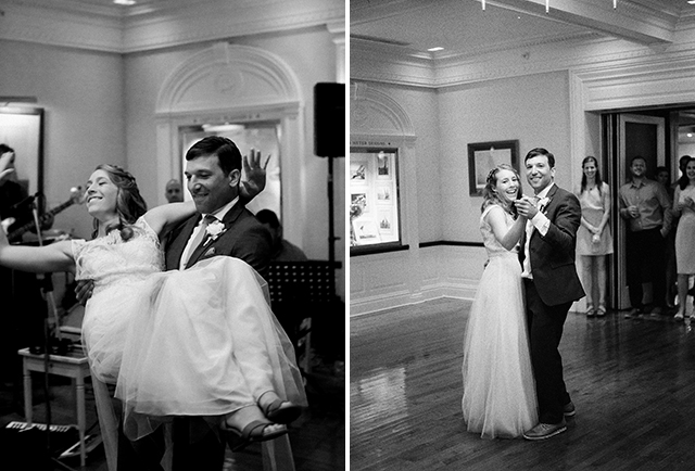 black and white images of bride and grooms first dance - Sarah Der Photography