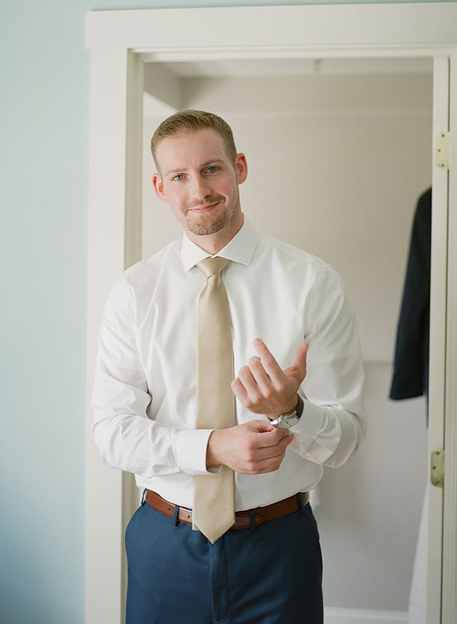 Kennebunkport getting ready location with groom - Sarah Der Photography