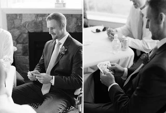 black and white images of groom playing poker before wedding ceremony - Sarah Der Photography