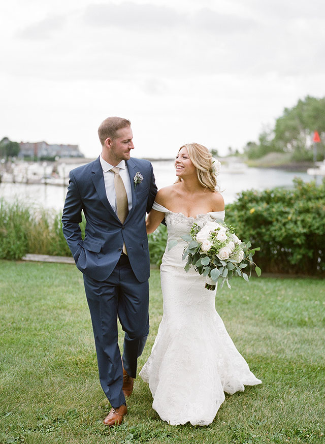 lace wedding gown with waterfall sleeves - Sarah Der Photography