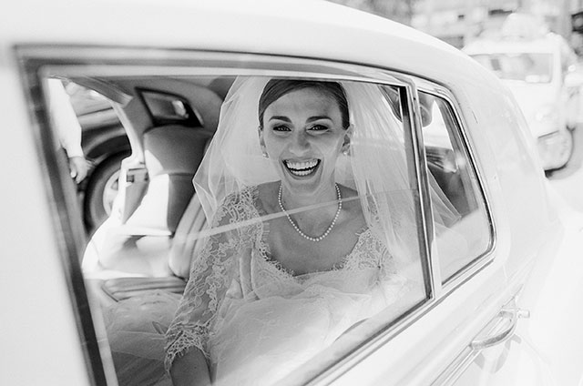 vintage car to wedding ceremony in downtown New York - Sarah Der Photography