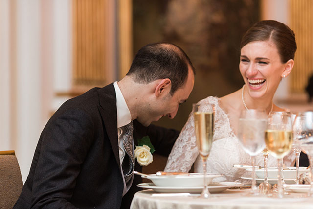 Groom laughs during toasts - Sarah Der Photography