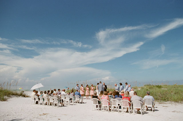 blue skies and small wedding ceremony - Sarah Der Photography