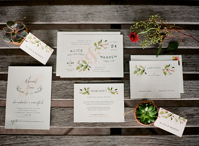 custom minted wedding stationary set - Sarah Der Photography
