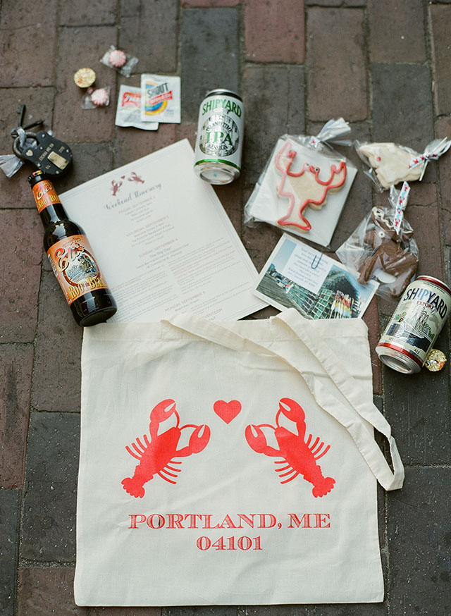 portland, maine welcome bags for wedding - Sarah Der Photography
