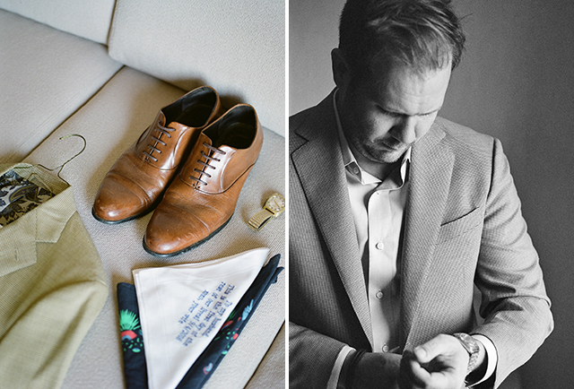 custom pocket square and vintage suit - Sarah Der Photography
