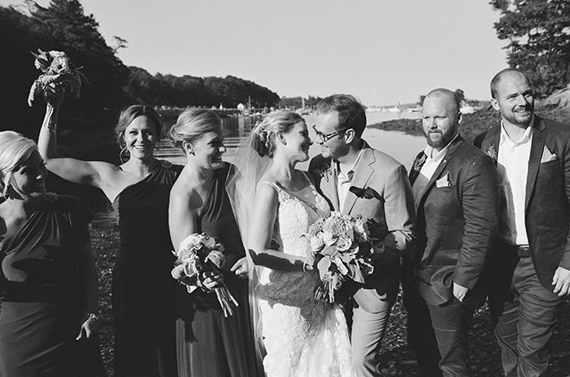 waterfront bridal party portraits on black and white film - Sarah Der Photography