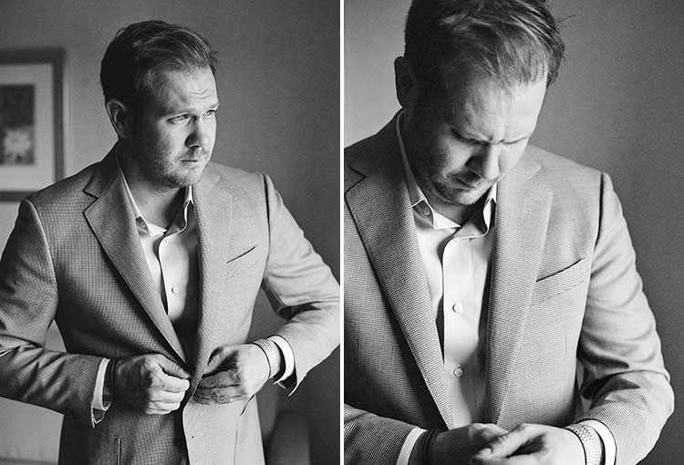 black and white photos of groom getting ready - Sarah Der Photography