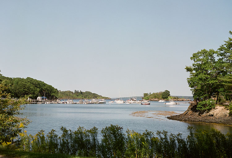 waterfront ceremony site on an island off the coast of Maine - Sarah Der Photography