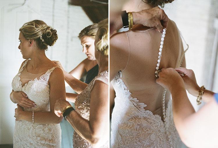 bride's mother buttons up wedding dress - Sarah Der Photography