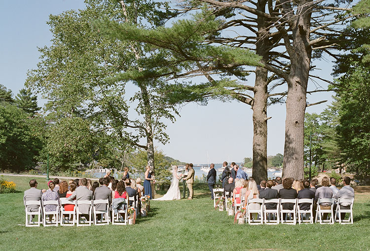 waterfront wedding ceremony on great diamond island - Sarah Der Photography