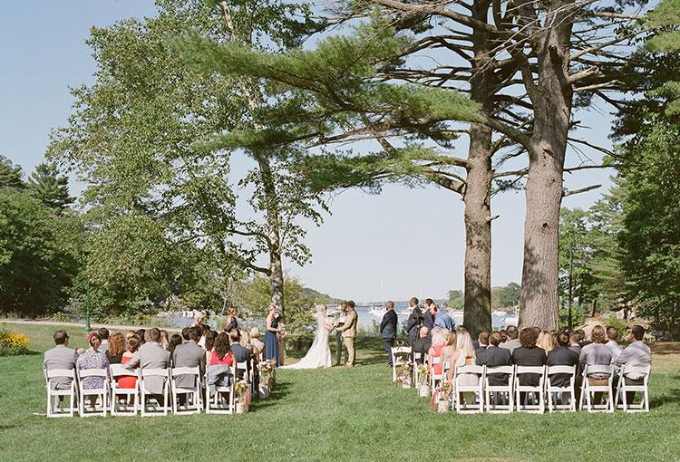waterfront wedding ceremony on great diamond island - Sarah Der Photography