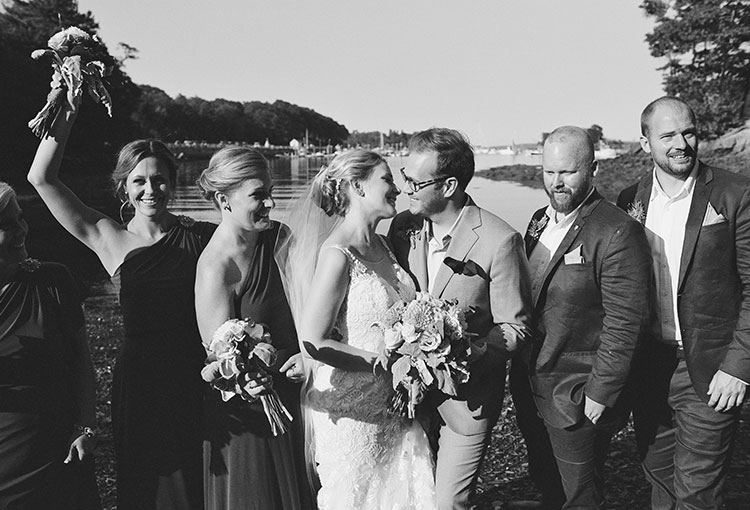 waterfront portraits with wedding party - Sarah Der Photography