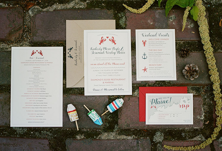 lobster themed wedding invitation suite with red and blue pops of color - Sarah Der Photography