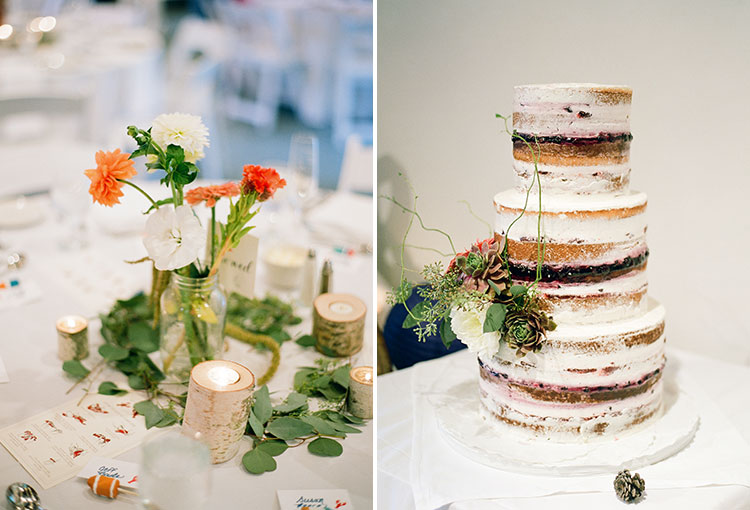 wildflower centerpieces and naked cake - Sarah Der Photography