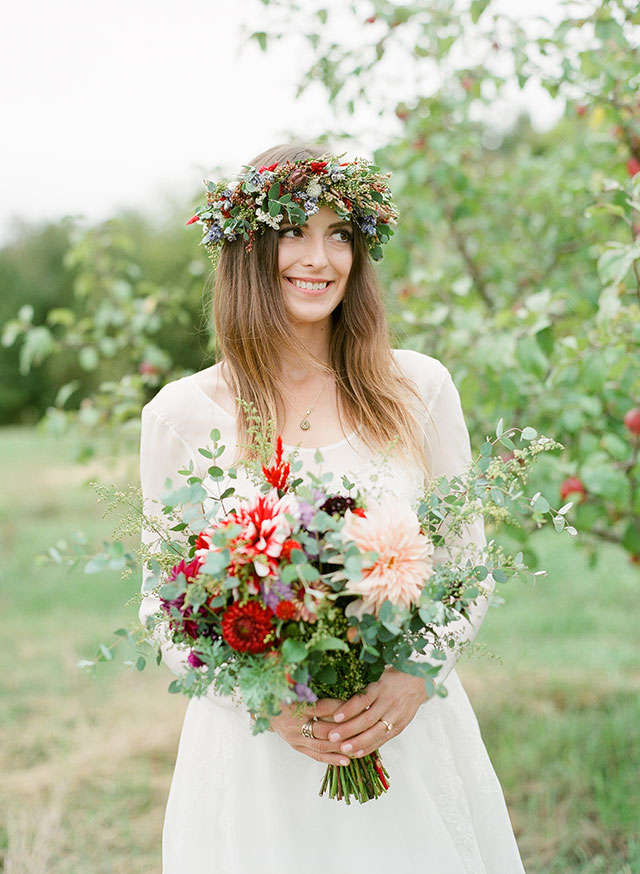 bride wearing flower crown gets married on an organic farm in maine - Sarah Der Photography
