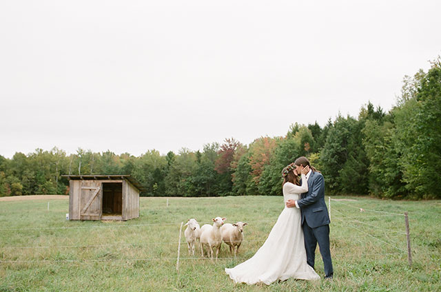 farm wedding portraits with flower crown and sheep - Sarah Der Photography