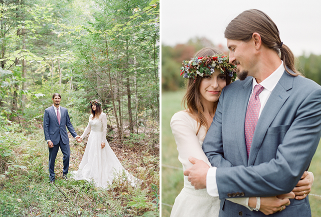 wedding day portraits in the woods - Sarah Der Photography