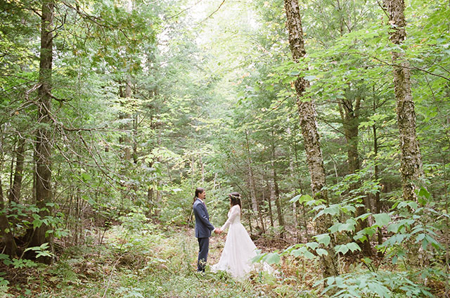 epic shot of the couple in the woods - Sarah Der Photography