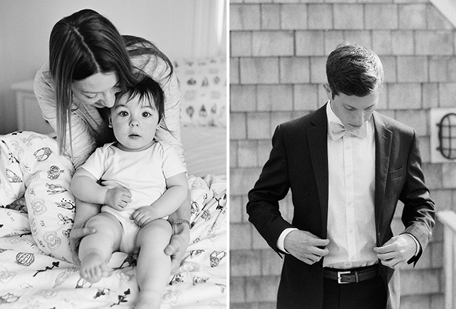 black and white film photography or a family in their home and a groom putting on a bowtie