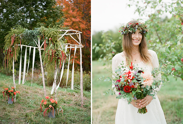 farm ceremony details including floral crown