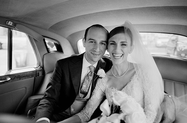vintage car rental in manhattan and portrait of bride and groom riding in one