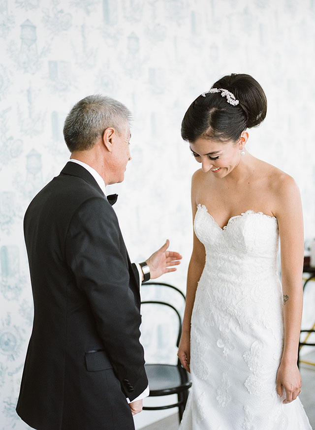 bride and father share a sweet moment in the wythe hotel