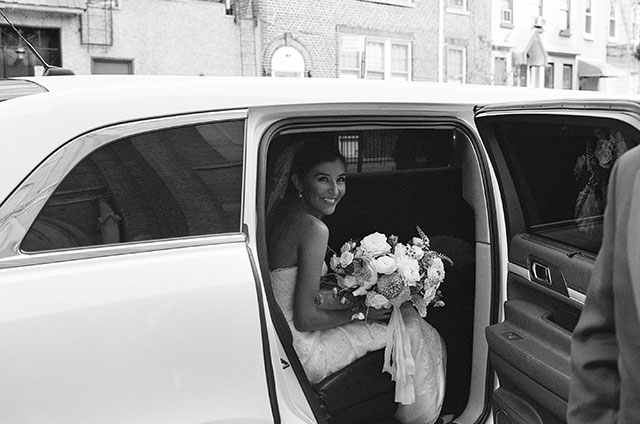 bride in vintage car before church ceremony in Brooklyn