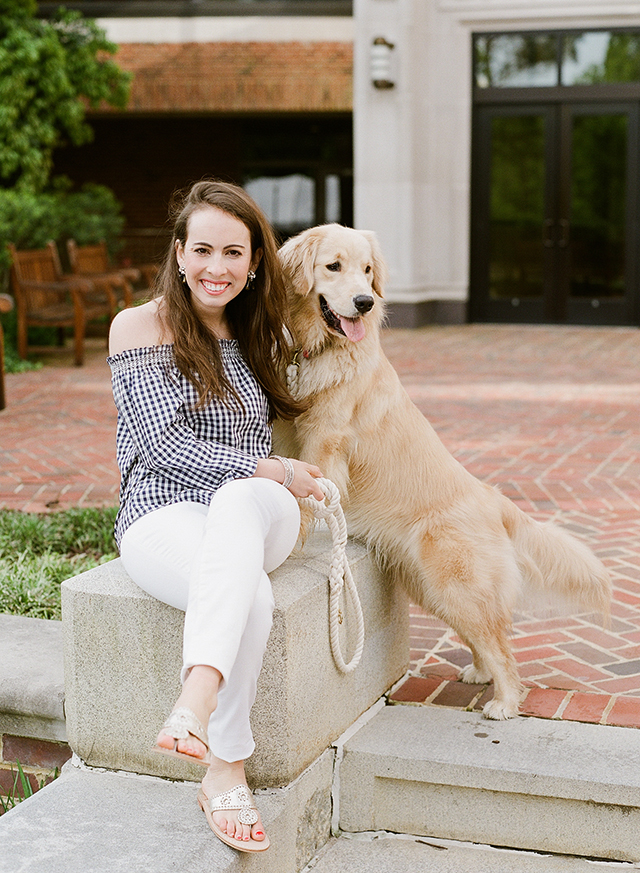 golden retriever dog at engagement session