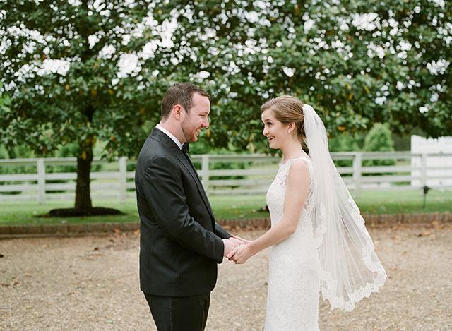 first look between bride and groom!