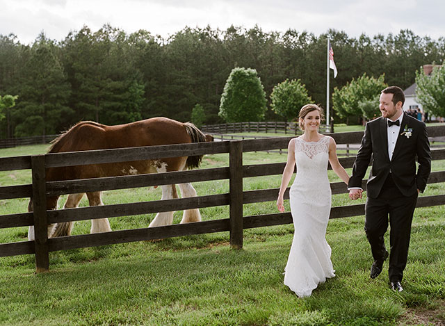 farm wedding day portraits with horses