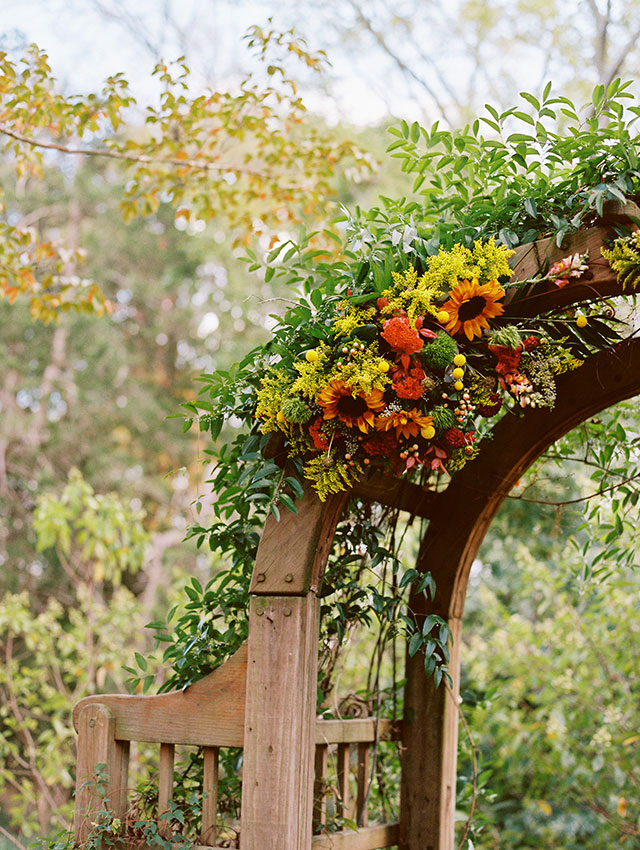 Boulevard Flowers arbor design featuring colorful autumn flowers