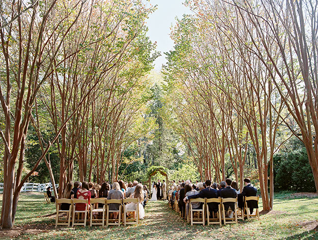 Beautiful outdoor ceremony shot by film wedding photographer Sarah Der Photography