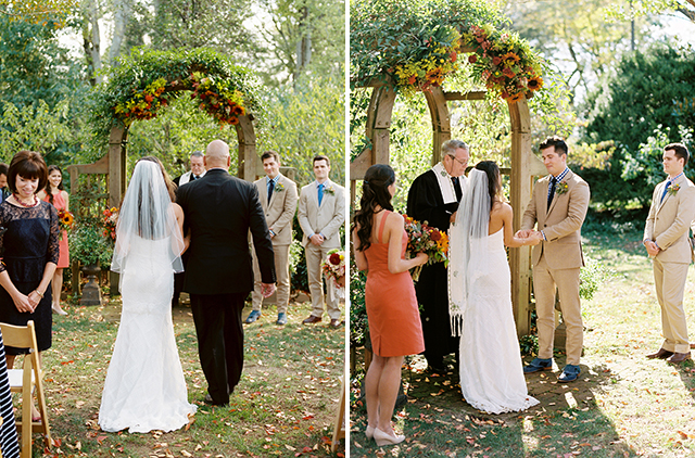Bride walks down the aisle with father and exchanges rings with groom at Richmond wedding Ceremony