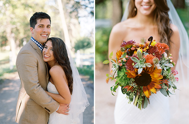 Richmond wedding photography by Sarah Der Photography, featuring bride and groom smiling at their fall wedding
