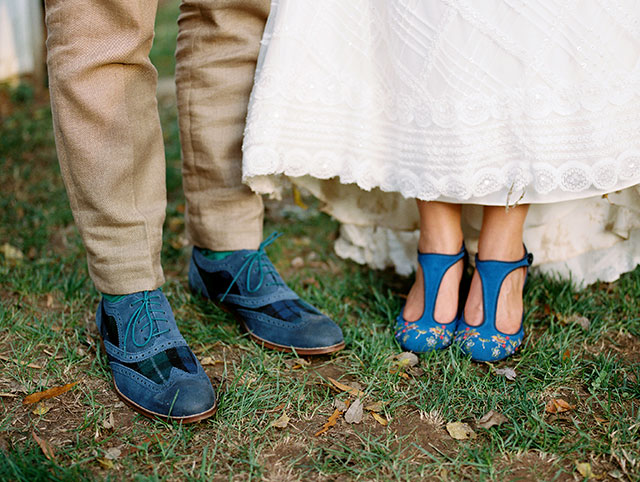 Navy blue wedding attire details with Anthropologie shoes and awesome grooms shoes, too