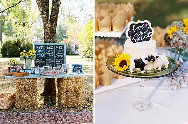 Wedding cake by Peg Langdon and diy chalkboard detail with reception timeline