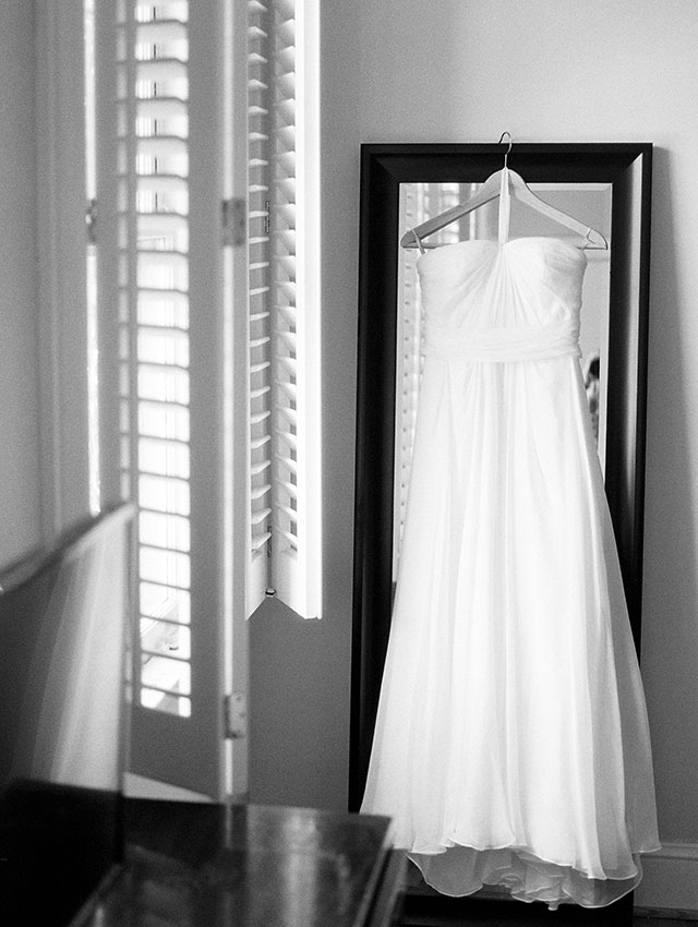 Ivy & alster wedding gown shot on black and white ilford film