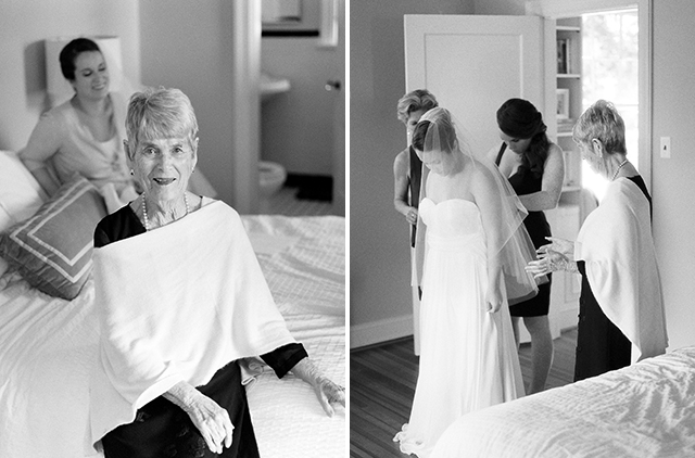 Film photos of bride putting on her wedding gown