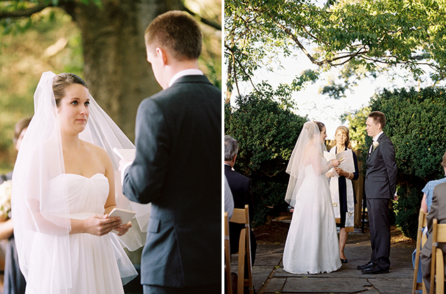 Bride reads her vows and listens to the groom read his vows, written in BHLDN vow notebooks