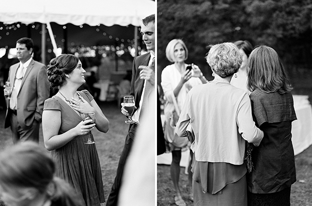 black and white film photos of guests enjoying cocktail hour at Sabot at Stony Point lawn