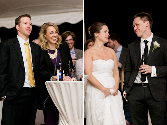 Couple smiles during toasts and guests laugh!