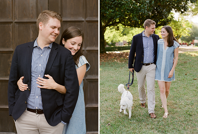 Candid and relaxed engagement photos of couple walking and hugging