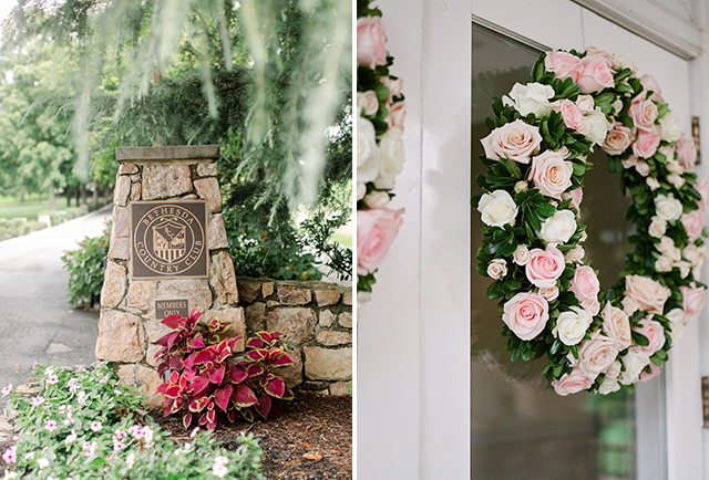 wedding day details at bethesda country club including venue sign and door wreaths