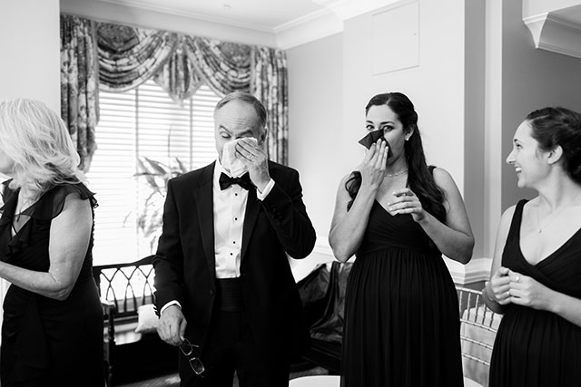 father of the bride and maid of honor cry at the ketubah signing