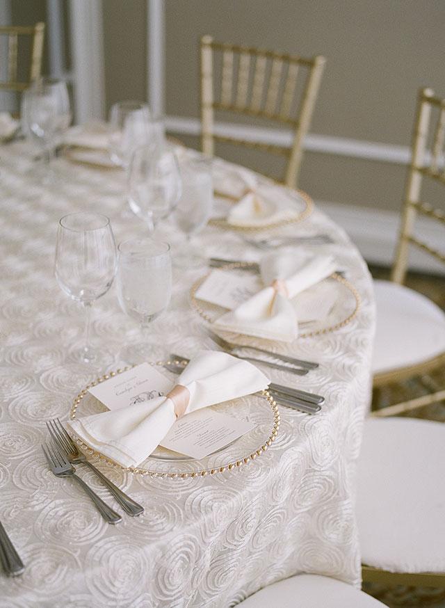 ballroom wedding reception details including pink and cream